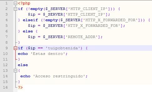 Permitir o restringir el acceso a un archivo a través de la dirección IP con PHP