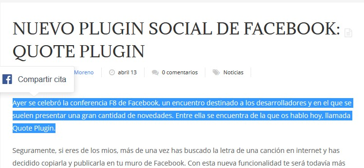 Nuevo plugin social de Facebook: Quote Plugin