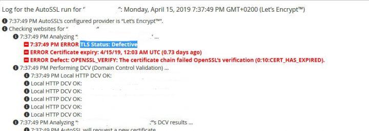 Como resolver el error TLS Status: Defective en Let's Encrypt